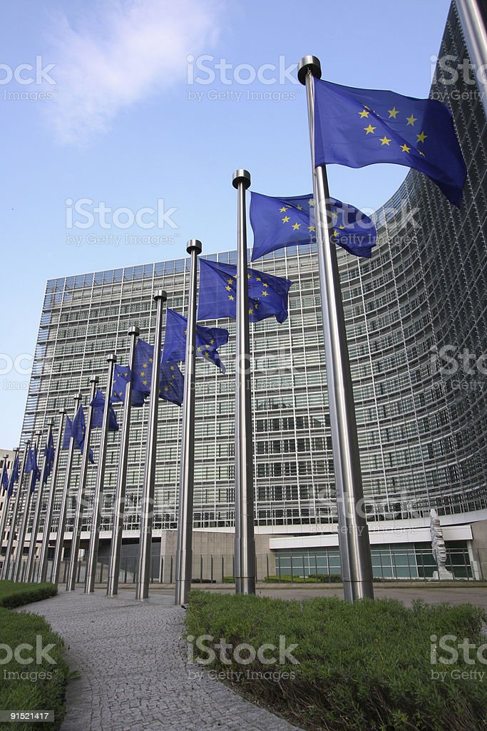 Line of European flags in Brussels stock photo