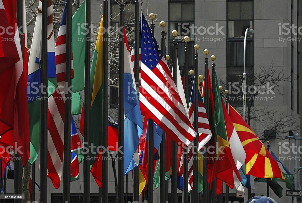 Line of flags from all different countries and nations stock photo