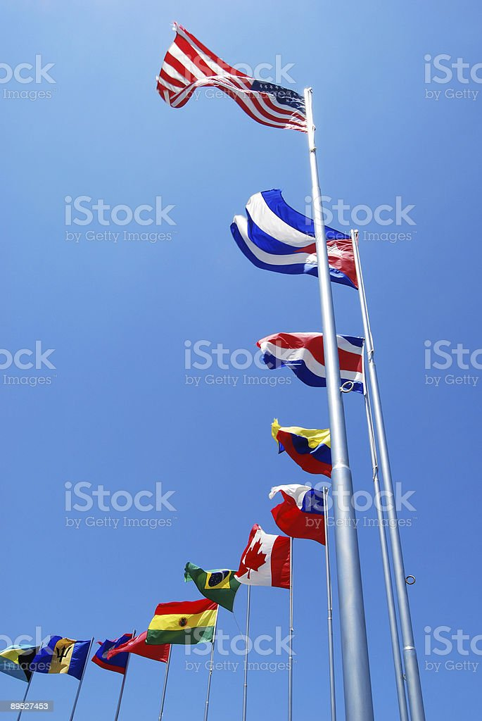 A line of flags from different countries royalty-free stock photo