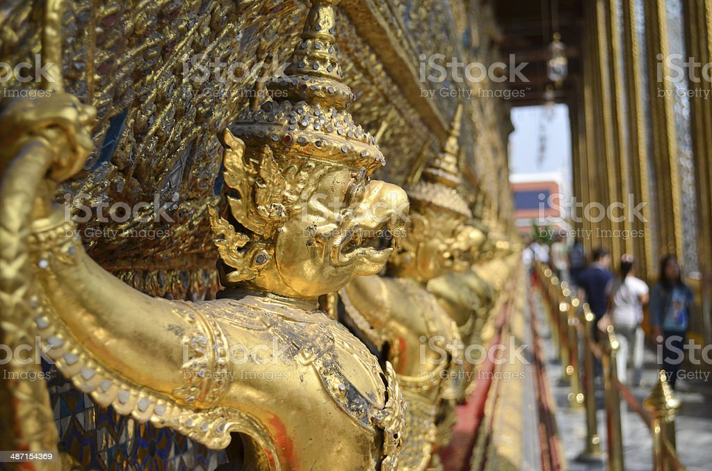 Line of gold statues royalty-free stock photo