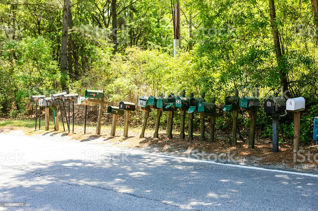 Line of Mail Boxes stock photo