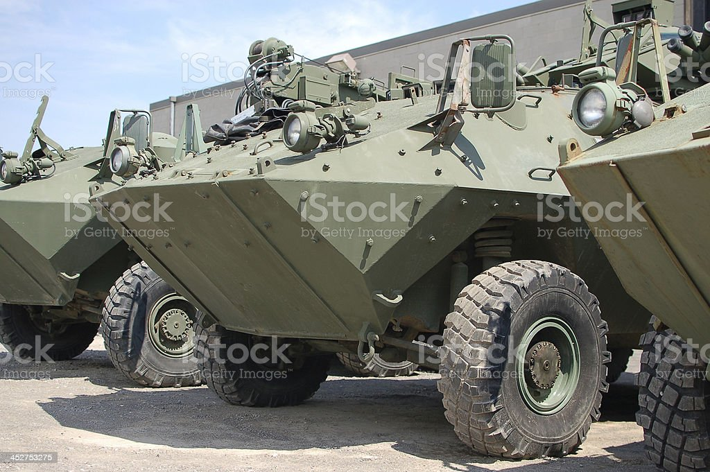 A line of military tank outside stock photo
