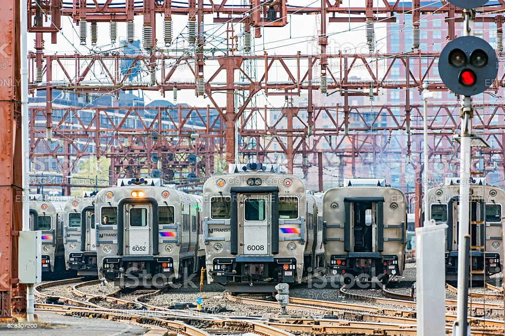 Line of NJ Transit trains in Hoboken Terminal railway yard stock photo