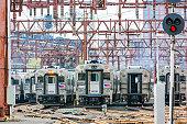 Line of NJ Transit trains in Hoboken Terminal railway yard