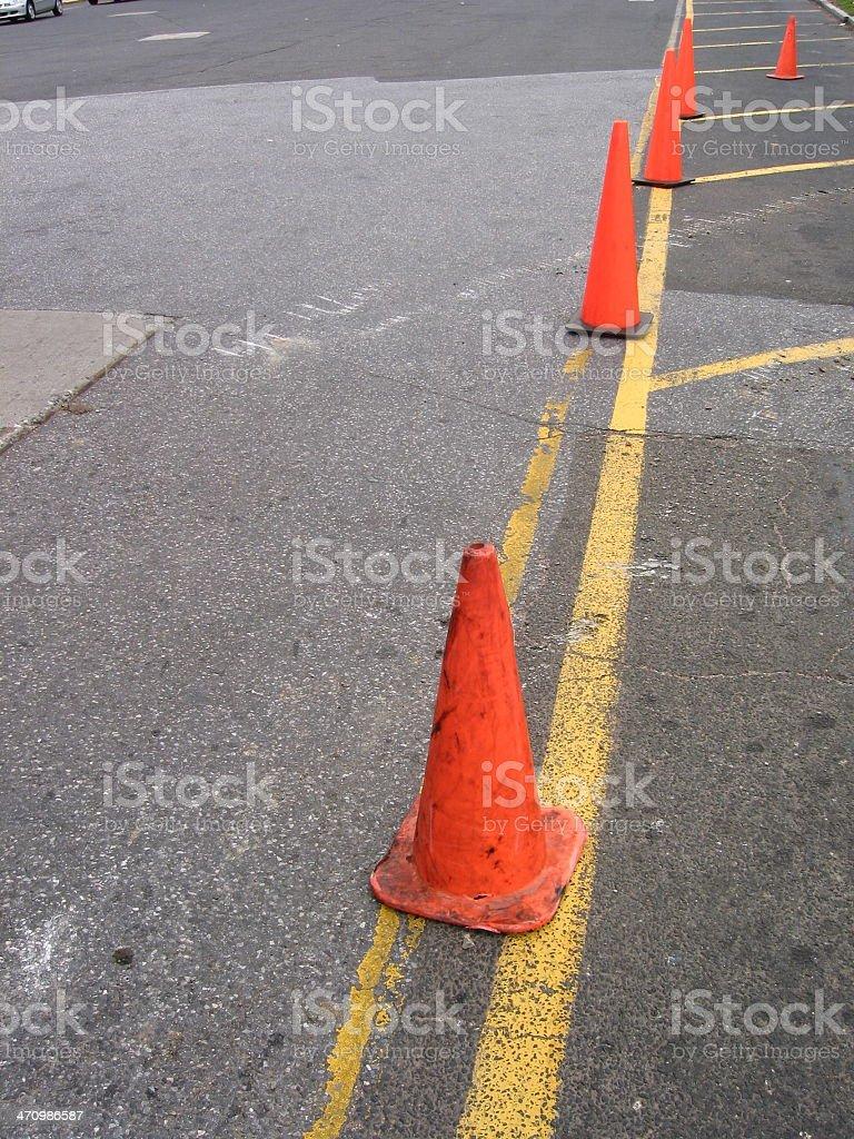 Line of orange cones royalty-free stock photo