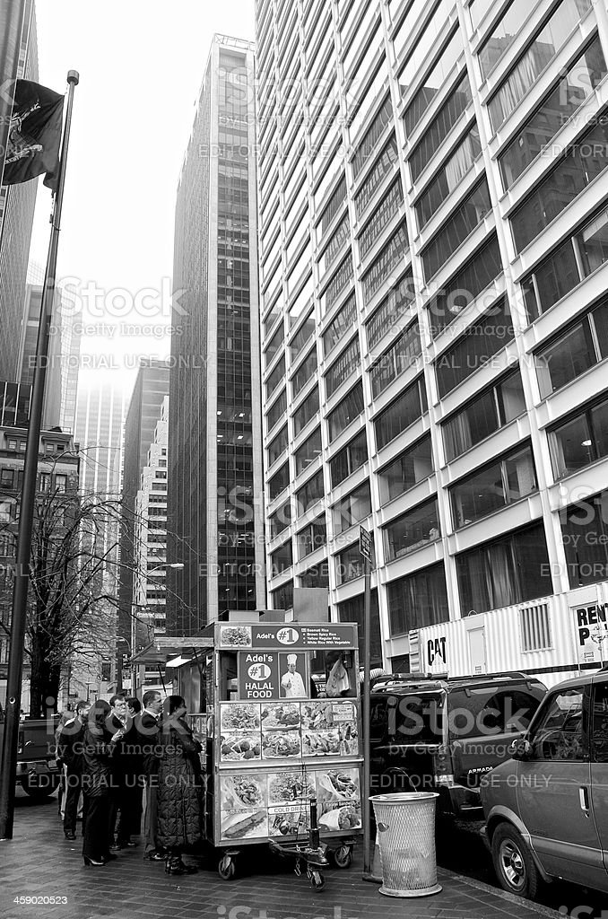 Line of people, Food vending cart, Financial District, Manhattan, NYC stock photo