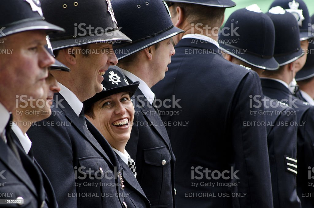 Line of police at the Royal Wedding, London stock photo