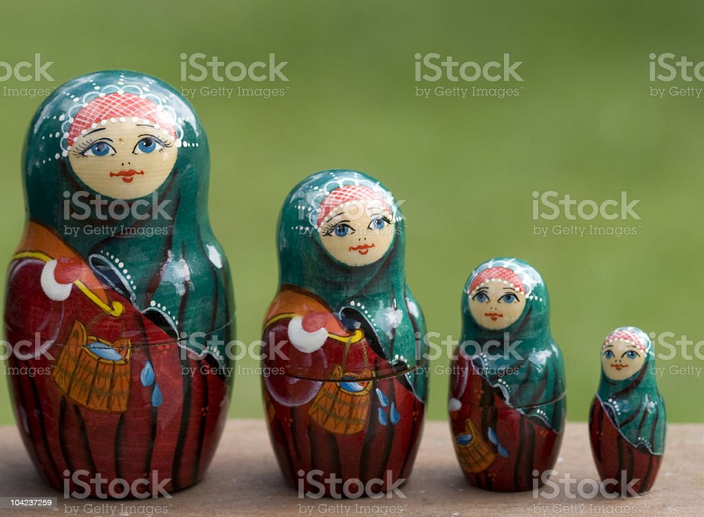 line of Russian dolls royalty-free stock photo