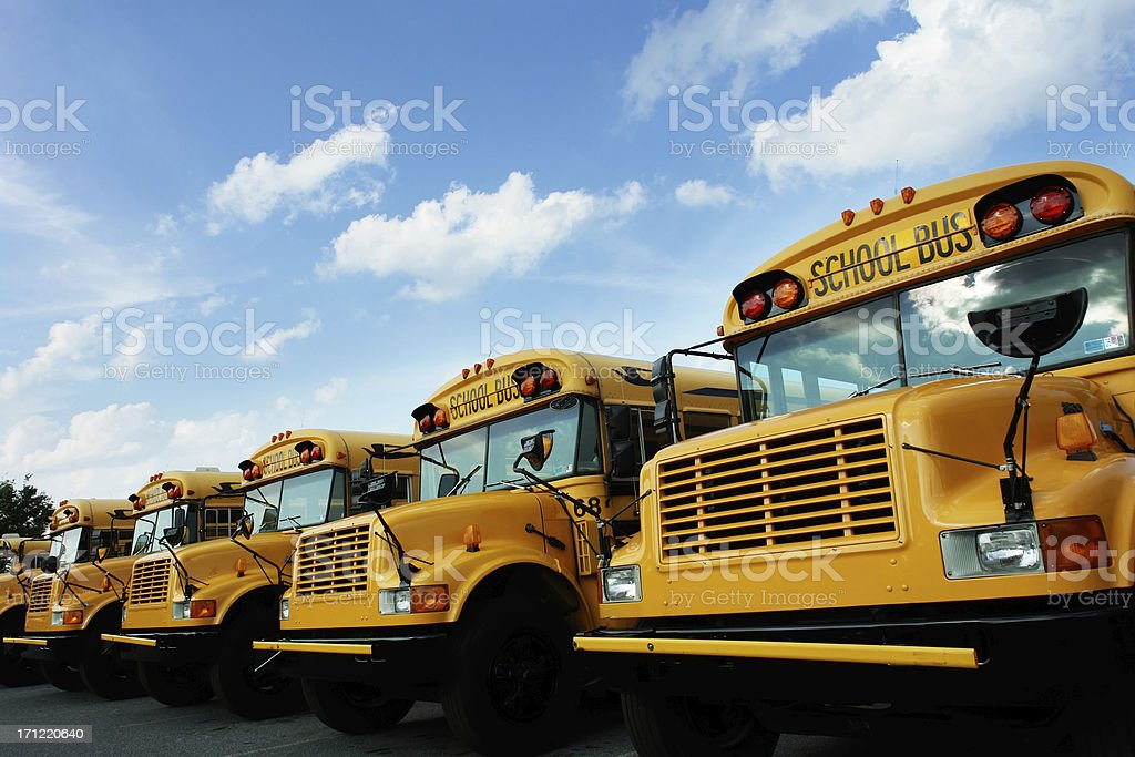 Line of school buses stock photo