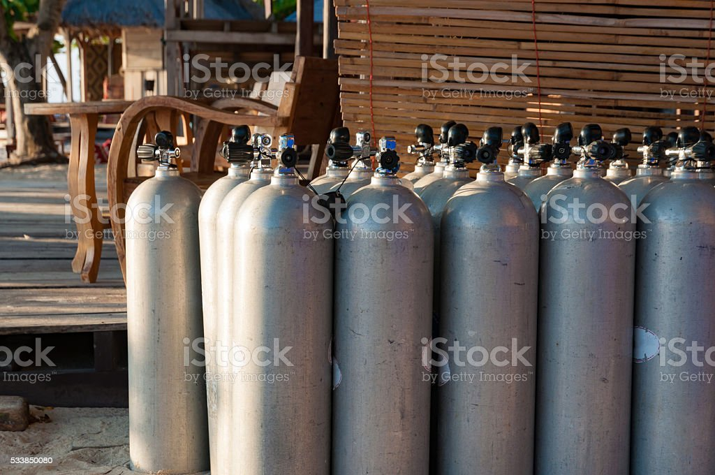 Line of scuba diving air tanks, selective focus stock photo