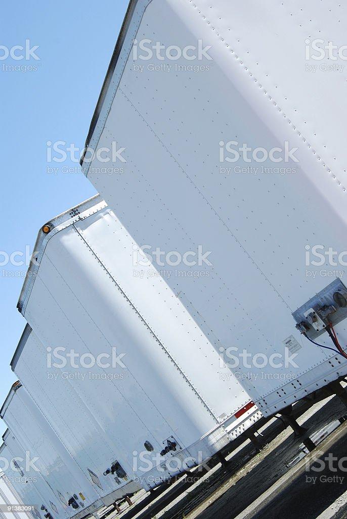 Line of semi trailers stock photo