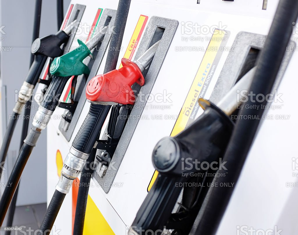 Line of Shell gas pumps at suburban filling station stock photo