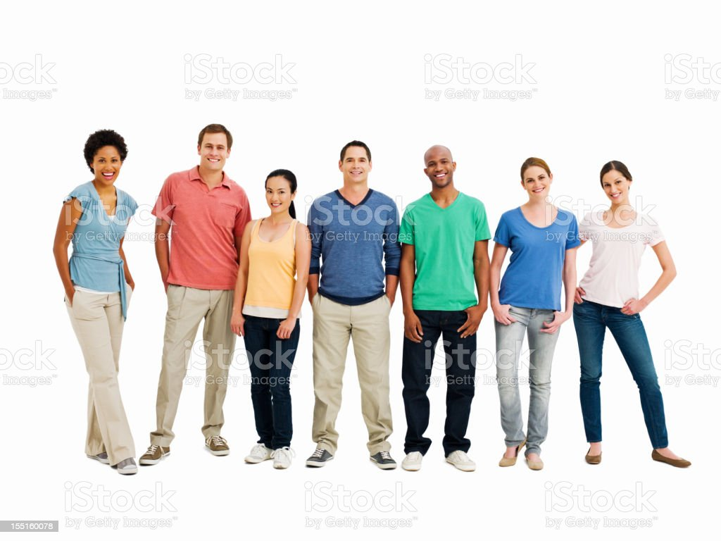 Line of Smiling Young Adults - Isolated stock photo