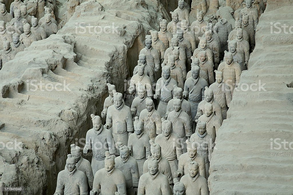 Line of soldiers in the Terracotta Army stock photo