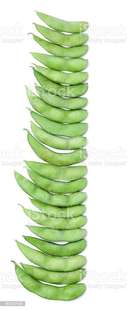 Line of Steamed Edamame Pods royalty-free stock photo