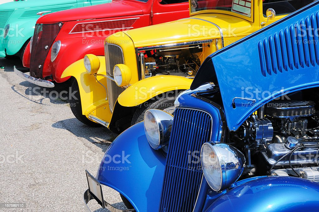 Line of Streetrod and Hotrod Cars at Car Show stock photo