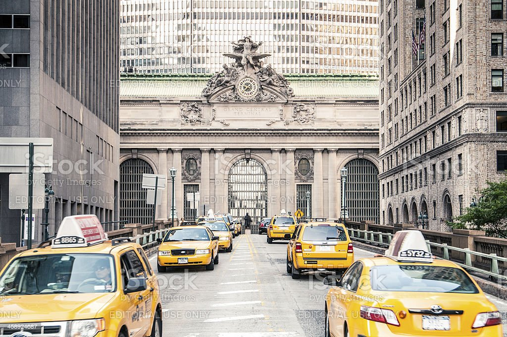 Line of taxis at Grand Central Station, New York stock photo