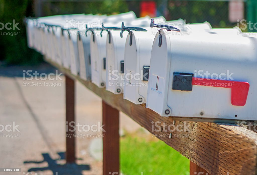 Line of the American Post Office Boxes Outside stock photo