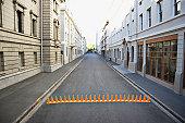 Line of traffic cones in urban roadway
