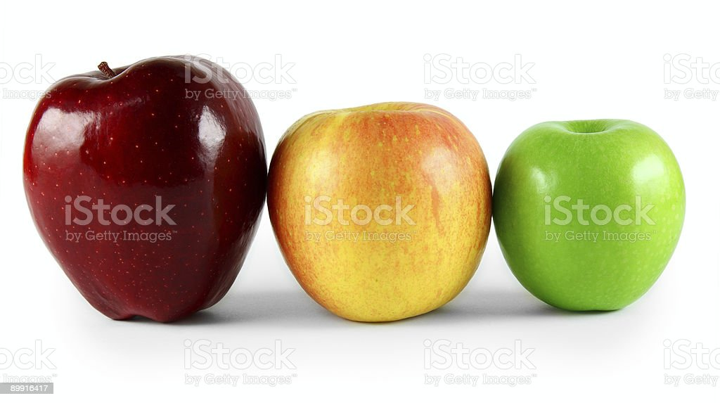 line of various apples stock photo