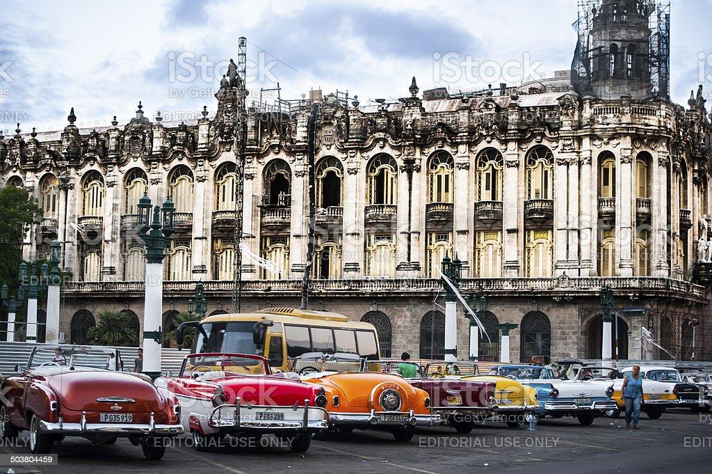 Line of vintage cars in Havana, Cuba stock photo