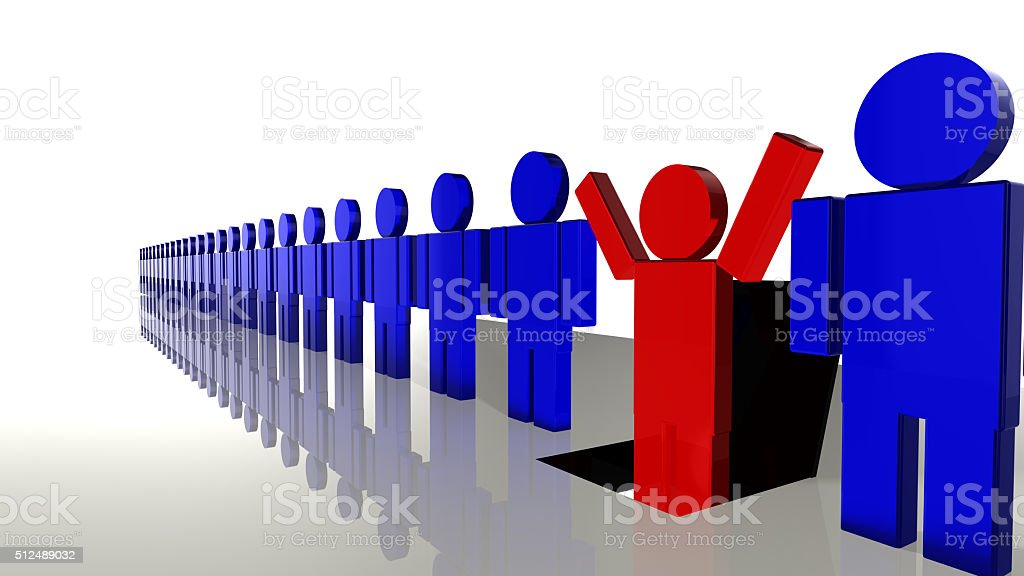 Line of workers with one falling into a trap door stock photo