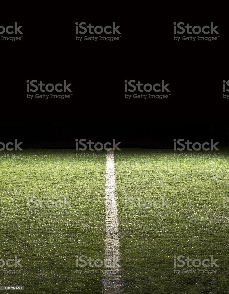 Line on a Football Field at night stock photo