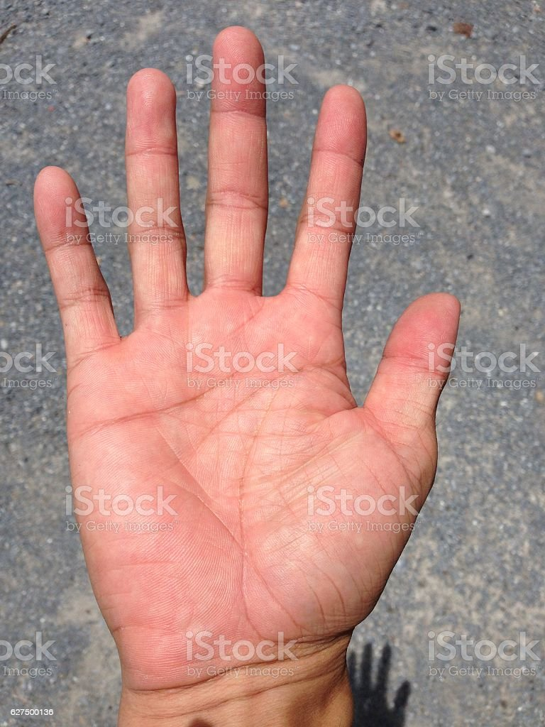 Line on hand.The predict the fate of palmistry. stock photo