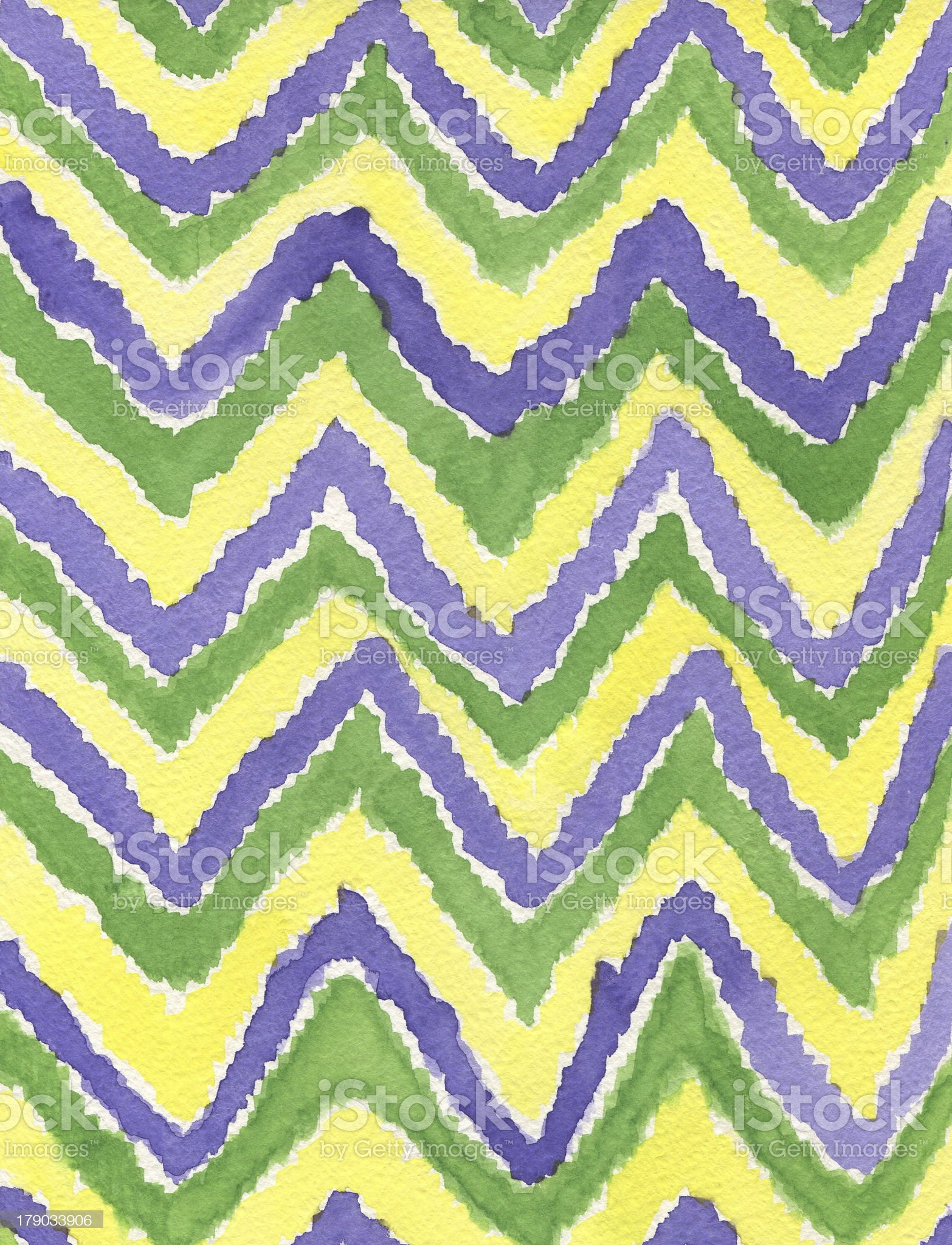 Line pattern zigzag. Watercolor colors purple, green, yellow. royalty-free stock photo