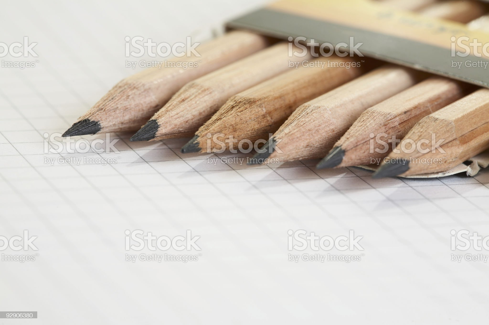 line pencils in a box royalty-free stock photo
