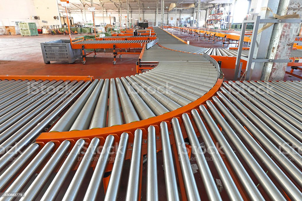 Line shaft rollers stock photo