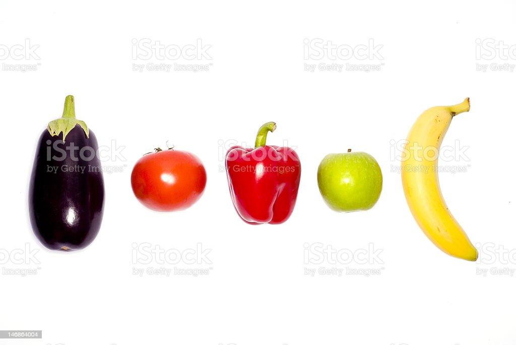 Line up of fresh fruit and veg royalty-free stock photo