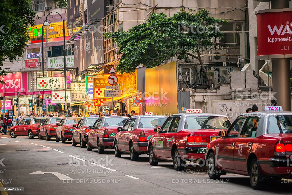 Line Up of Hong Kong Taxis stock photo
