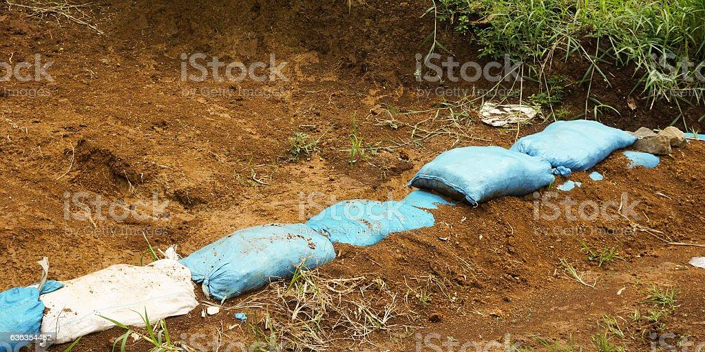 line up sacks of soil photo taken in Bogor Indonesia stock photo