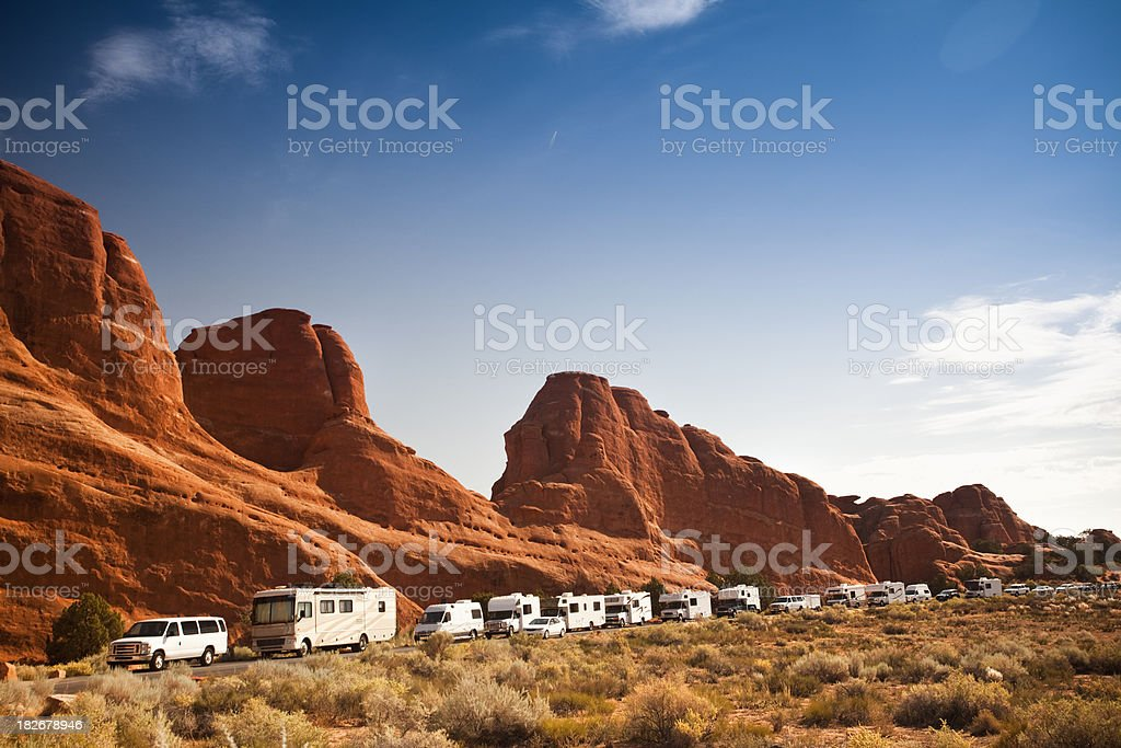 Line up traffic jam of recreational vehicles royalty-free stock photo