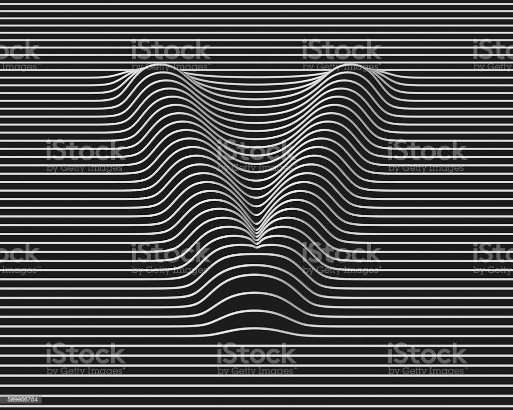 linear 3d font letter V stock photo