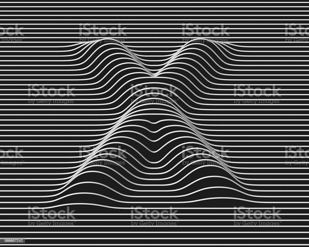 linear 3d font letter X stock photo