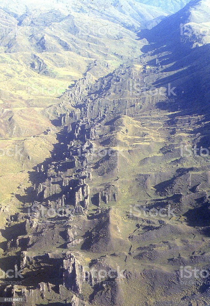 Linear Geological Outcrops along Fault Zone Andes Mountains South America stock photo