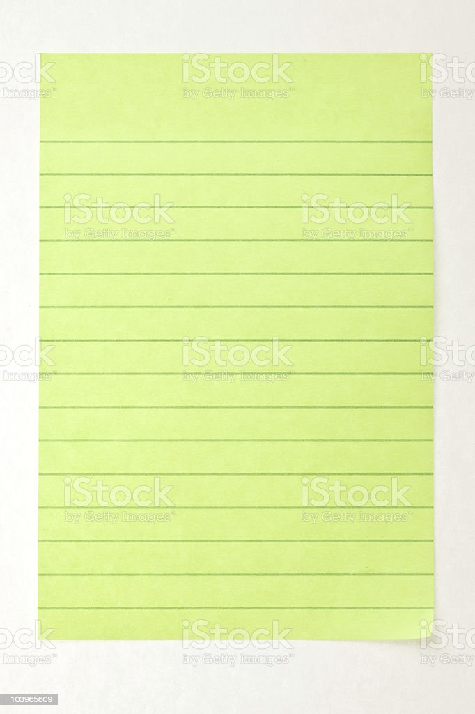 Lined green rectangle sticky note stock photo