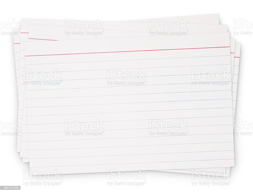 Lined Index Card Pile (with path) stock photo