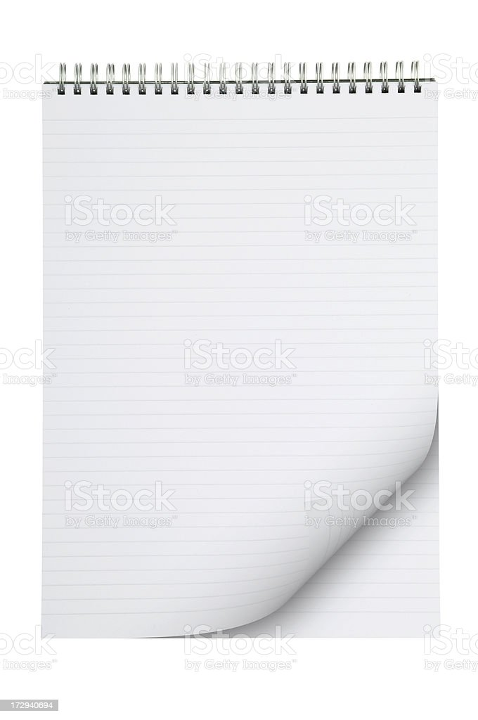 Lined note pad with page curl royalty-free stock photo