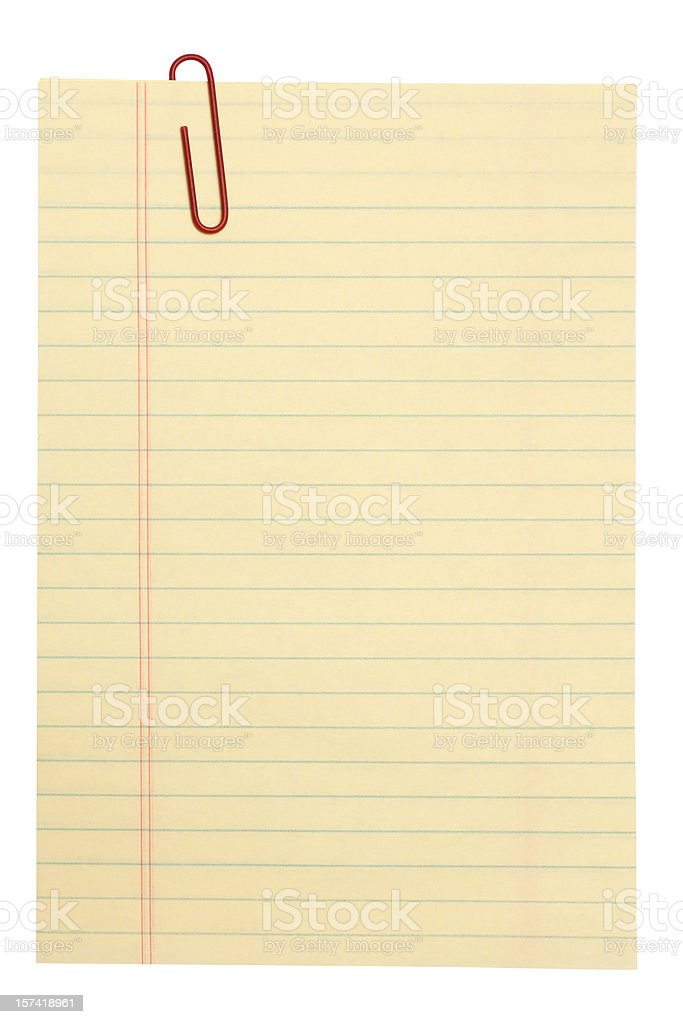 lined note paper and clip royalty-free stock photo