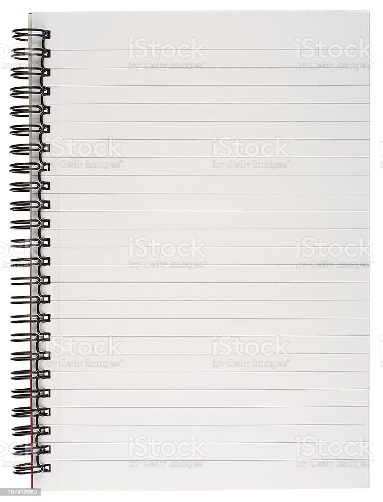 Lined Notebook Page stock photo
