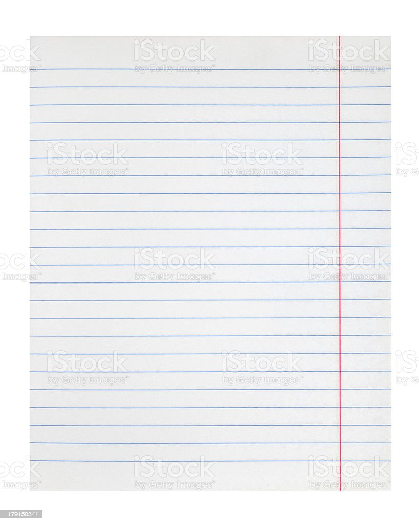 lined notebook paper texture with right margin stock photo