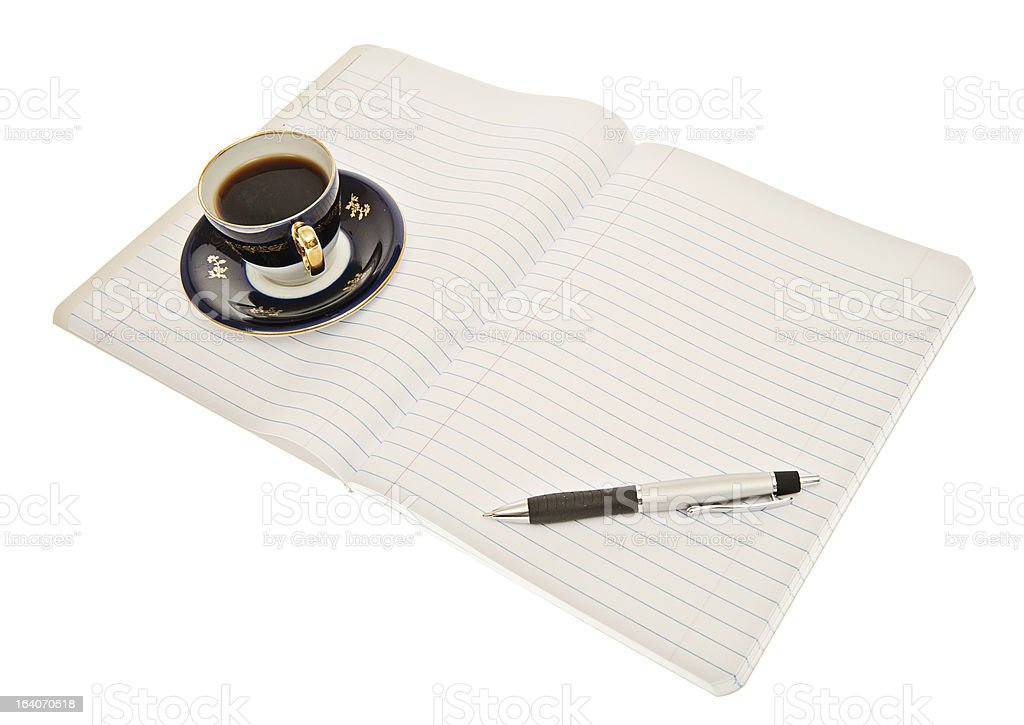 Lined Paper Pad with Pen and Cup of Expresso Coffee stock photo