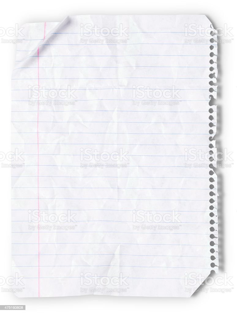 Lined Paper, Paper, Wrinkled stock photo