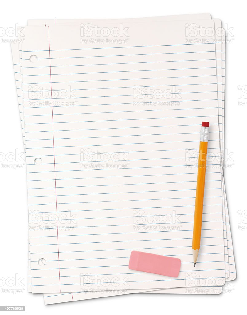 Lined paper sheets (with path) stock photo
