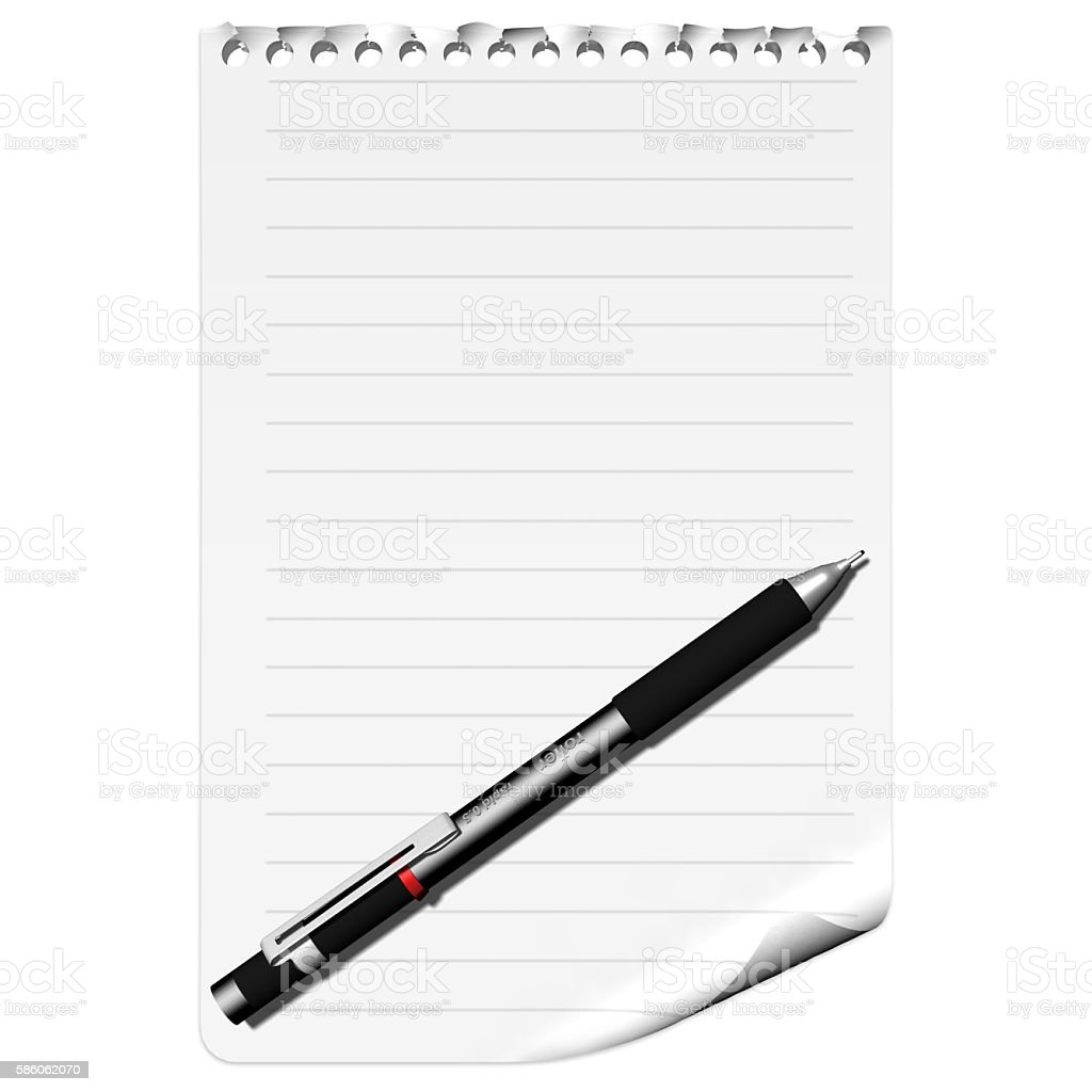 Lined Paper with pen. stock photo