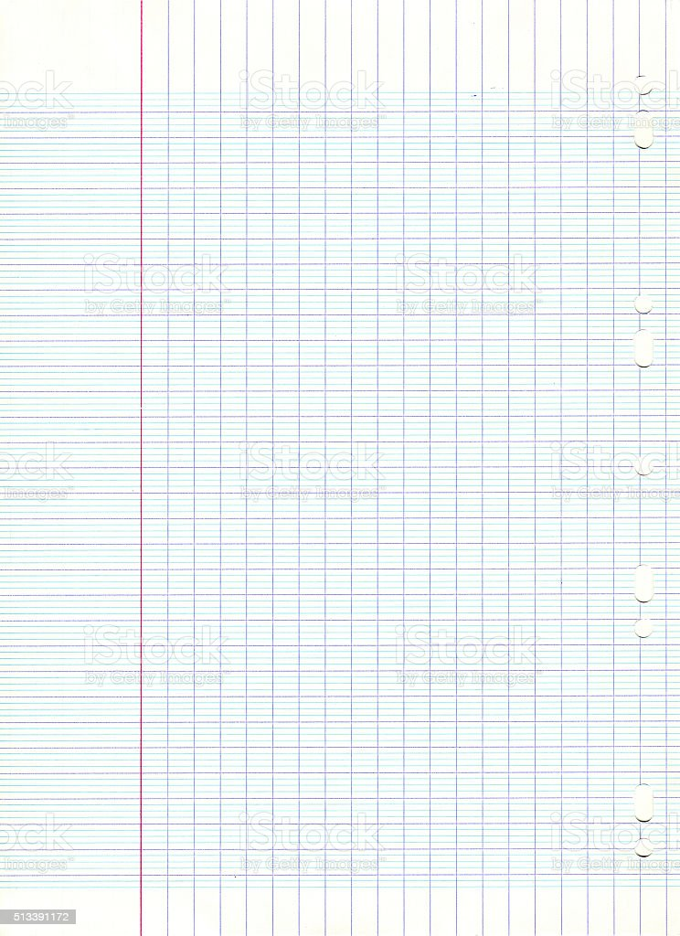 Lined school sheet of paper background stock photo