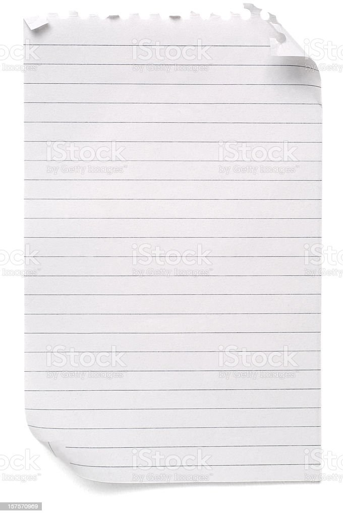 Lined sheet of blank note paper royalty-free stock photo